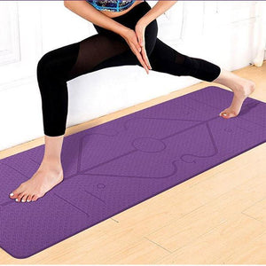 Non-Slip Yoga Mat with Alignment Lines and Mat Bag