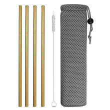 Load image into Gallery viewer, Stainless Steel Straws with Cleaning Brush and Pouch