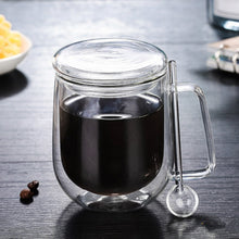 Load image into Gallery viewer, Coffee  Glass Mug with Lid and Spoon