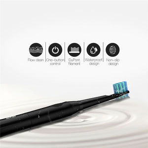 Black Sonic Electric Toothbrush With 2  Extra Brush Heads
