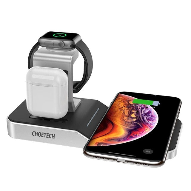 Premium 10W Qi Wireless Charging Station iPhone Airpods Apple Watch