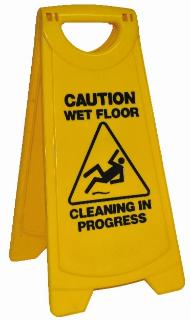 "Warning sign - yellow A-frame - ""Caution wet floor"""
