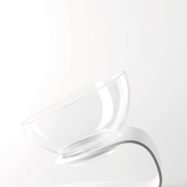 Height Adjustable Clear White Raised Elevated Designer Pet Feeding Bowl For Small Medium Cats - Pawsmeme.com