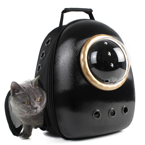 Spaceship Breathable Bubble Waterproof Portable Hard Designer Pet Traveler Carrier Backpack for Small Medium Cats - Pawsmeme
