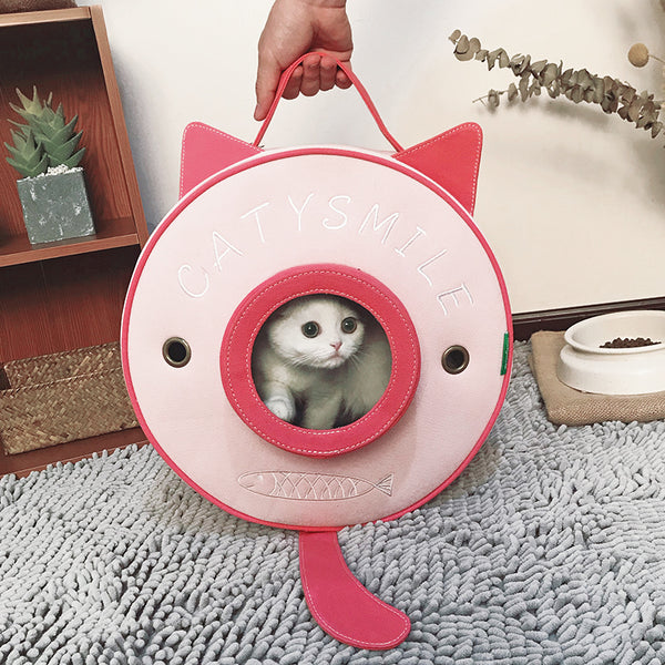 Cute Soft Breathable Round Ears Designer Portable Hard Pet Traveler Carrier Backpack for Small Medium Cats - Pawsmeme.com