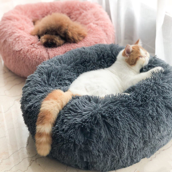 Cute Luxury Dog Bed Deep Sleep Donut Puppy Cat Kitty Faux Fur Cuddler Pet Washable Sofa Bed MORE SIZES & COLORS - Pawsmeme.com