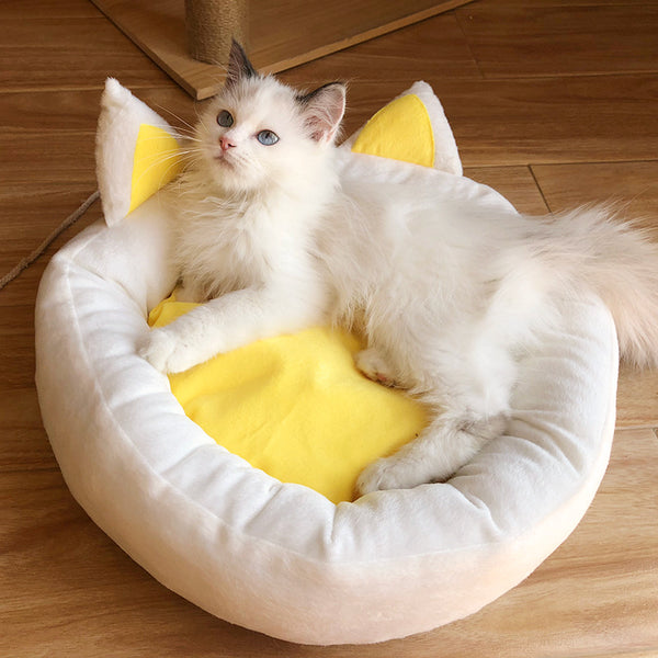 Yellow Cat Ears Cushion Durable Indoor Pet Bed For Small Medium Cats