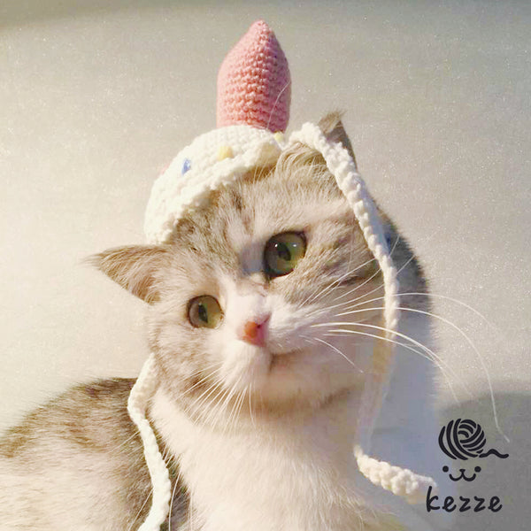 Cute Ice Cream Knit 100% Handmade Pet Hat Halloween Party Costume Headwear Accessory for Small Medium Cats - Pawsmeme