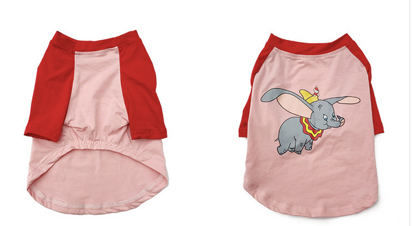 Dumbo Flying Elephant Pink Summer Cotton Sleeveless Shirt Costume For Small Medium Dogs - Pawsmeme.com