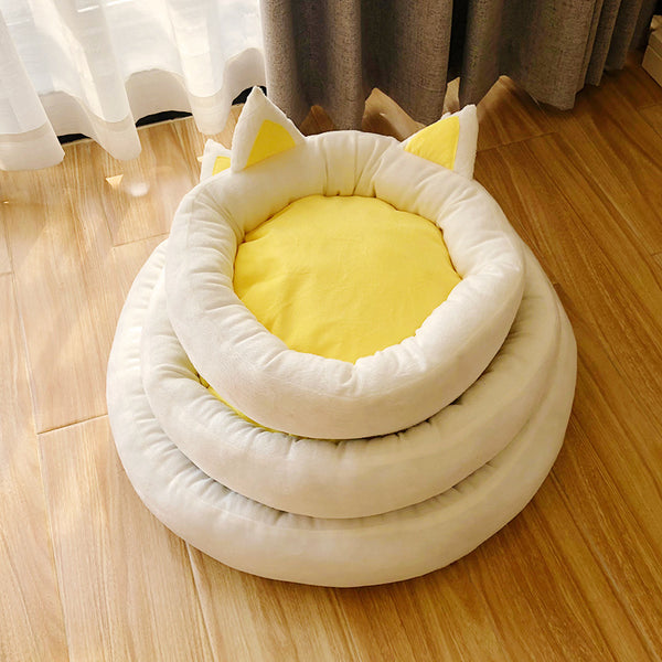 Yellow Cat Ears Cushion Durable Indoor Pet Bed For Small Medium Cats - Pawsmeme.com