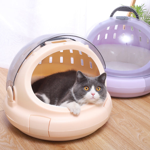Breathable Travel Space Capsule Cushioned Hard Waterproof Transparent Portable Hard Pet Traveler Carrier with Handle For Small Medium Large Cats (Airline Approved) - Pawsmeme.com