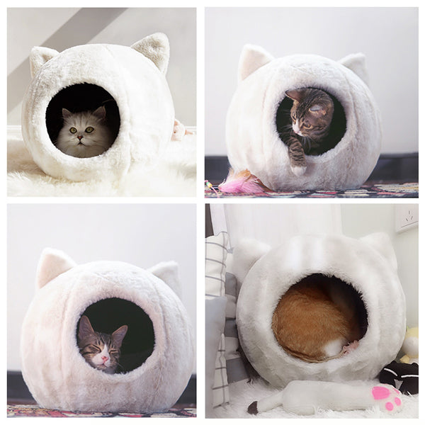 White Cat Head Cave Deep Sleep Indoor Pet Bed For Small Medium Cats - Pawsmeme.com