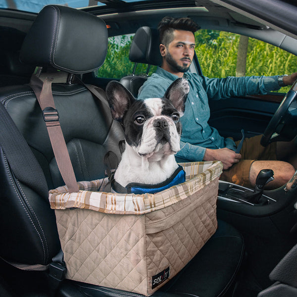 Brown Plaid Warm Soft Washable Adjustable Portable Car Front & Back Seat Basket with Clip-On Safety Leash For Small Medium Dogs - Pawsmeme.com