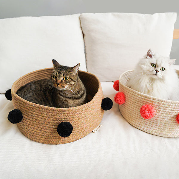 Furry Ball Soft Basket Summer Indoor Pet Bed For Small Medium Cats - Pawsmeme.com