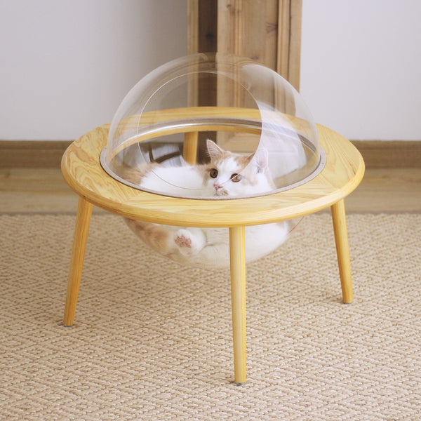 UFO Planet Transparent Clear Round Wooden Designer Indoor Cave Pet House For Small Medium Cats - Pawsmeme.com