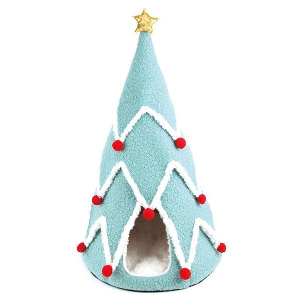 Candy Blue Christmas Tree Cave Cushion Indoor Pet House For Small Medium Dogs - Pawsmeme