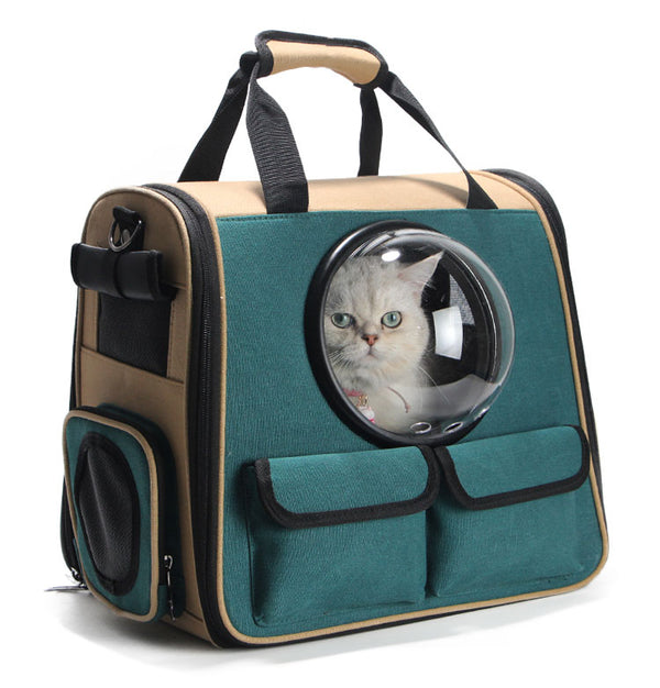 Space Bubble Green Easy Carry Soft Breathable Pocket Designer Portable Hard Pet Traveler Carrier Backpack for Small Medium Large Cats - Pawsmeme.com