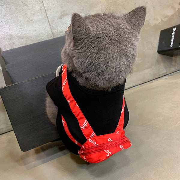 Supreme Style Red Backpack Black Summer T-shirt Costume For Small Medium Cats - Pawsmeme