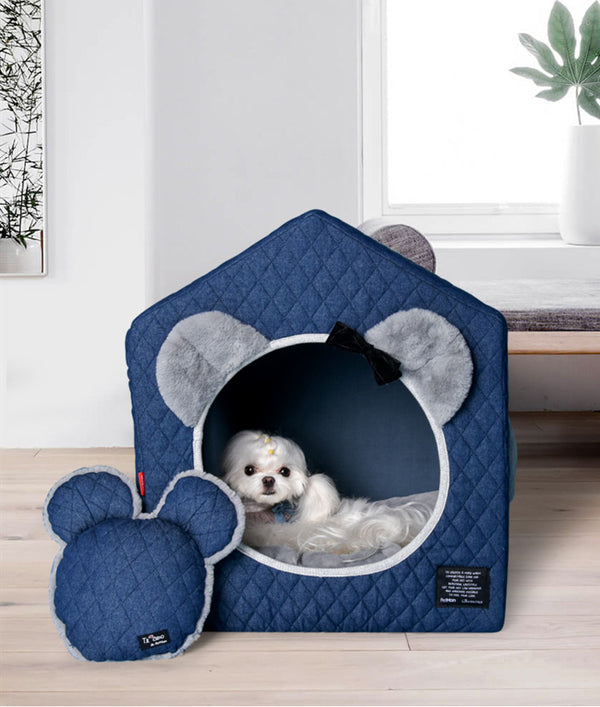 Mickey Mouse Style Princess Ribbon Cushion Indoor Pet House For Small Medium Dogs - Pawsmeme