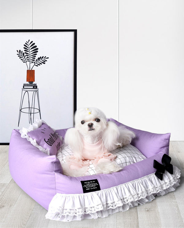 Princess Lace Purple Easy Clean Indoor Pet Bed For Small Medium Dogs - Pawsmeme.com