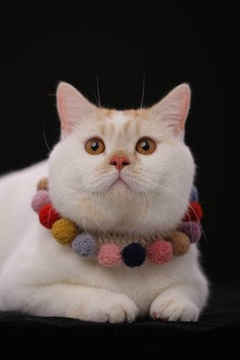 Furry Balls Knit Handmade Safety Designer Pet Collar with Bell For Small Medium Cats - Pawsmeme.com