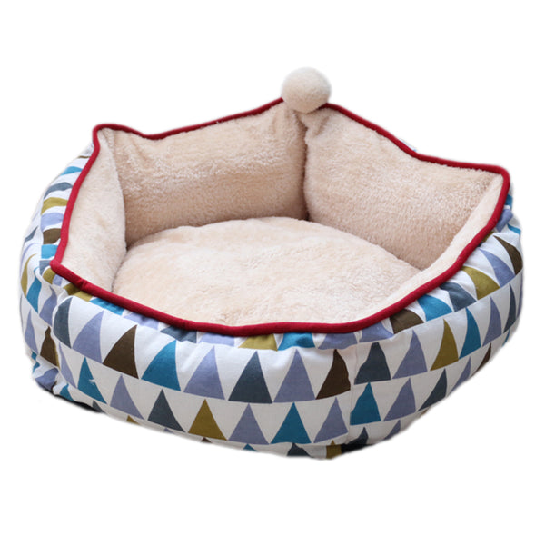 Bohemian Geometric Canvas Soft Cushion Indoor Pet Bed For Small Medium Cats - Pawsmeme.com
