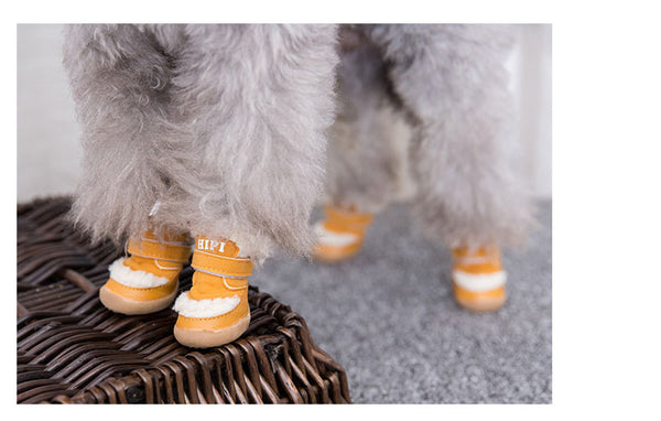 Furry Winter Warm Waterproof Adjustable Breathable Hiking Shoes Outdoor Boots for All Seasons with Rugged Anti-Slip Sole Cosy Fabric for Small Medium Large dogs - Pawsmeme.com