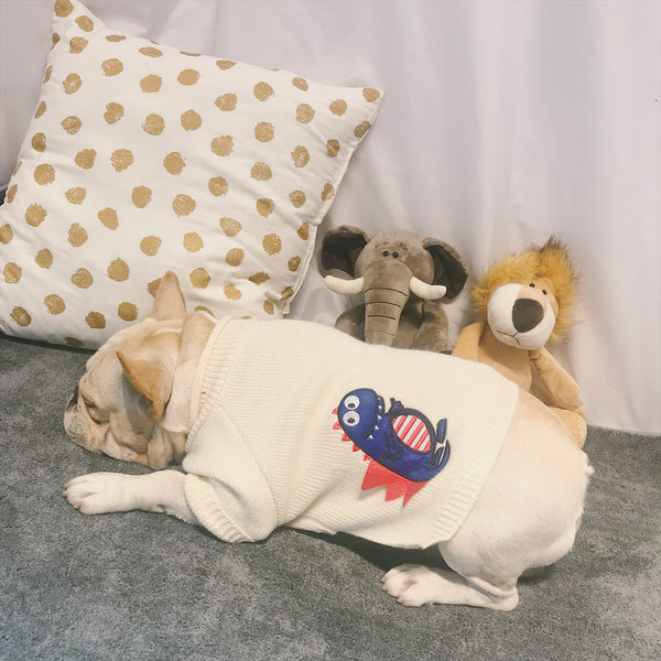 Dinosaur White Knit Thin Sweater Costume For Small Medium Dogs - Pawsmeme.com