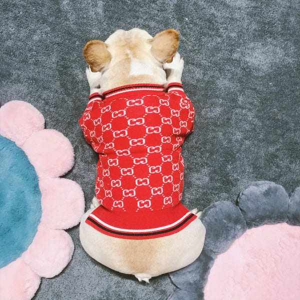 Gucci Style Red Logo Knit Sweater Costume For Small Medium Dogs - Pawsmeme.com