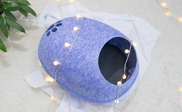 Egg Shape Zipper Summer Indoor Pet Bed Easy Clean For Small Medium Cats - Pawsmeme.com