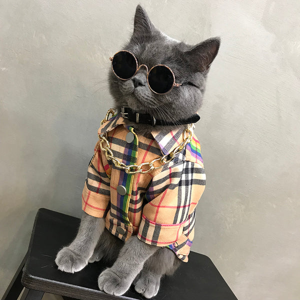 Burberry Style Rainbow Plaid Button Wind Jacket Costume For Small Medium Cats - Pawsmeme