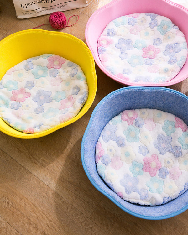 MORE COLORS Felt Bowl Handle Deep Sleep Summer Pet Bed For Small Medium Cats - Pawsmeme.com