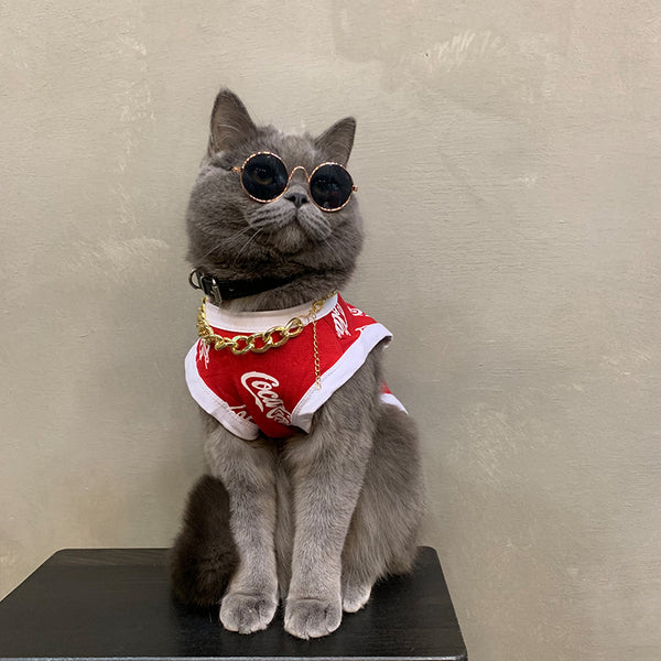 Coca-Cola Style Summer Lightweight Vest Costume For Small Medium Cats - Pawsmeme.com