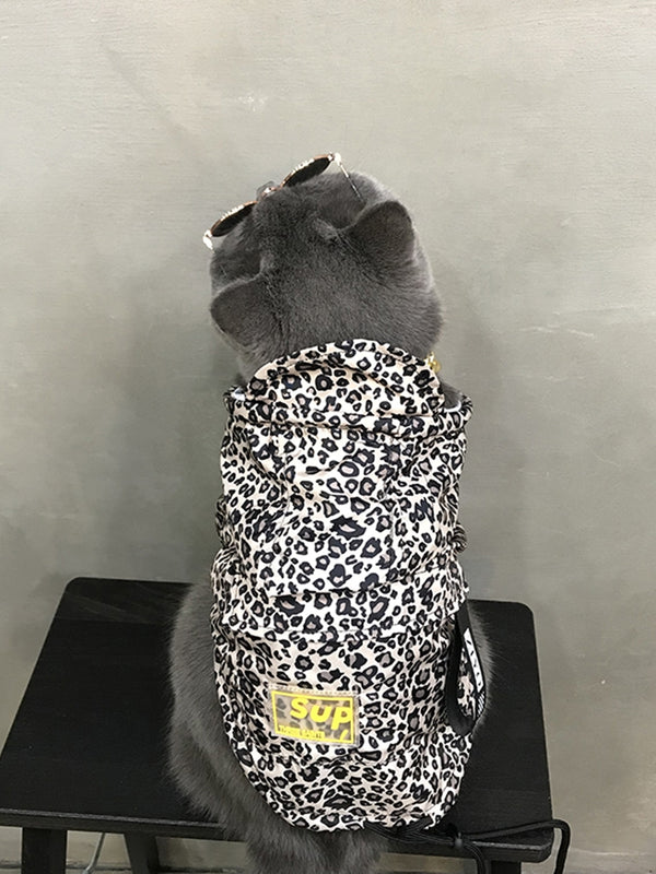 Supreme Style Leopard Print Street Summer Hoodie Costume For Small Medium Cats - Pawsmeme.com