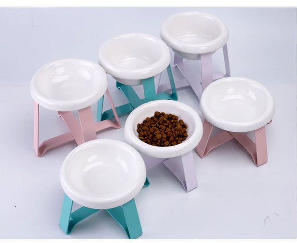 Candy Color Ceramic Raised Elevated Easy Clean Designer Pet Feeding Bowl For Small Medium Cats - Pawsmeme.com