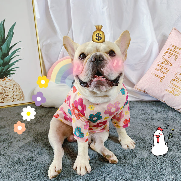 Cute Flower Pattern Summer Breathable Shirt Costume For Small Medium Dogs - Pawsmeme