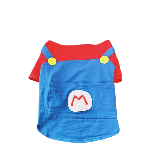 Super Mario Style Pants Cotton Summer Shirt Costume For Small Medium Dogs - Pawsmeme.com