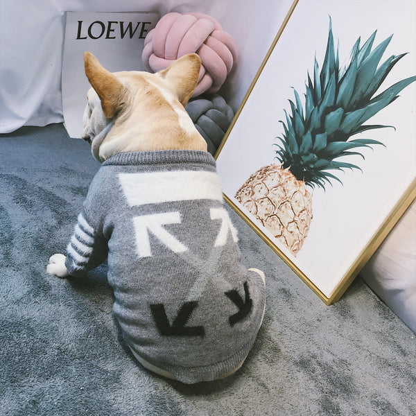 Off White OW Style Grey Fluffy Stripe Sweater Costume For Small Medium Dogs - Pawsmeme.com