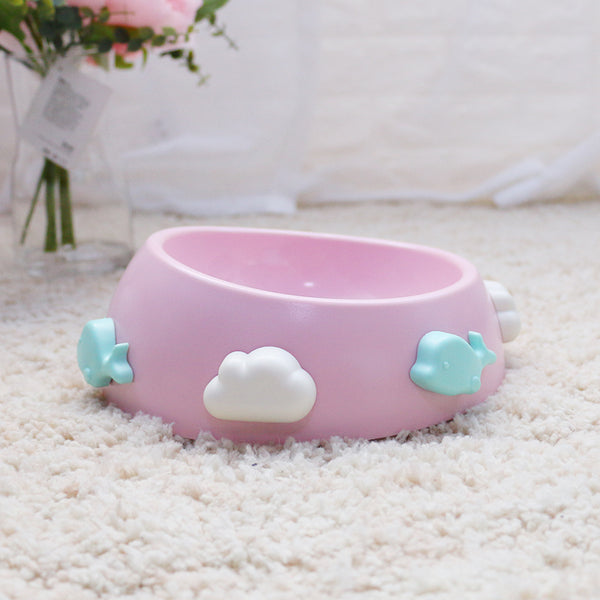 Cute Cloud Whale Tilt Opening Durable Raised Elevated Designer Pet Feeding Bowl For Small Medium Cats - Pawsmeme