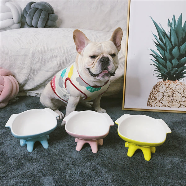 Ceramic Wide Face Easy Clean Elevated Designer Pet Feeding Bowl For Small Medium Dogs - Pawsmeme.com