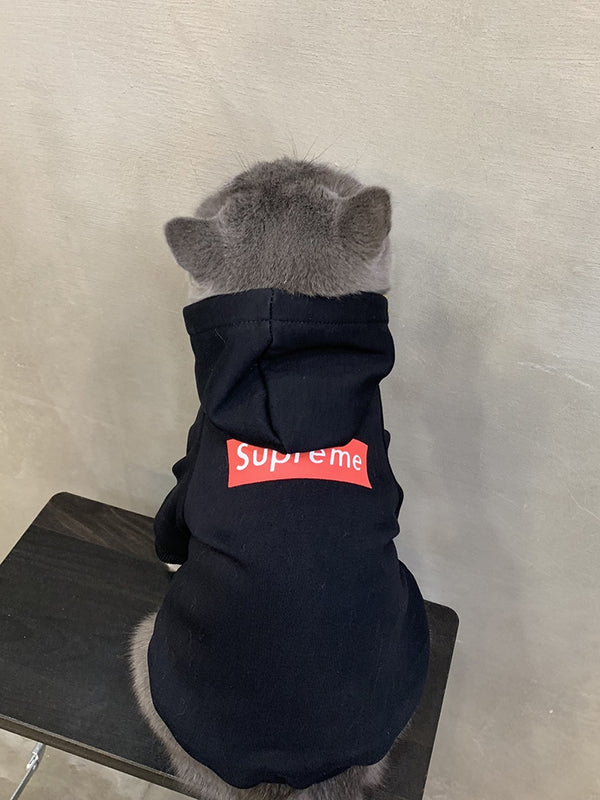 Supreme Style Black Woolen Sweatshirt Jacket Costume For Small Medium Cats - Pawsmeme