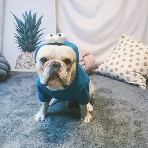 Goofy Blue Eyeball Button Cotton Sweater Costume For Small Medium Dogs - Pawsmeme.com