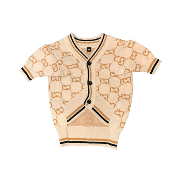 Gucci Style Beige Logo Knit Sweater Costume For Small Medium Dogs - Pawsmeme.com