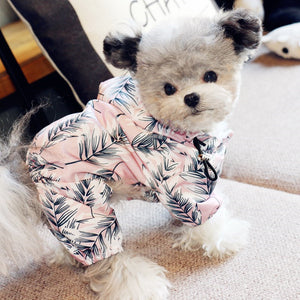 MORE COLORS Floral Print Hoodie Raincoat Leg Protection For Small Medium Dogs - Pawsmeme.com