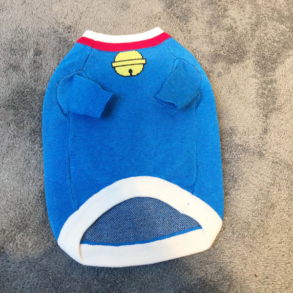 Doraemon Style Machine Cat Blue Thin Knit Sweater Costume For Small Medium Dogs - Pawsmeme