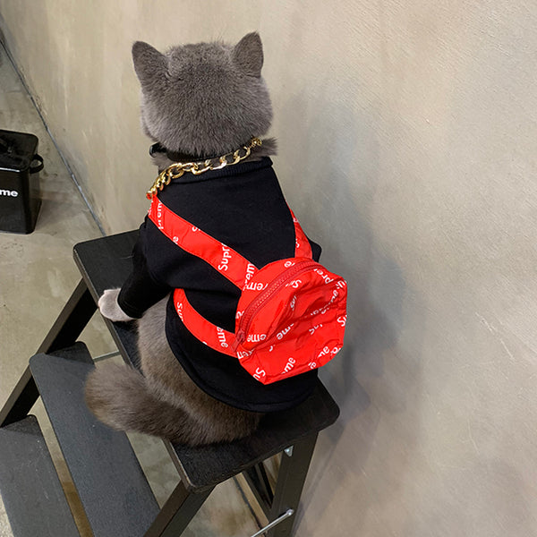 Supreme Style Red Backpack Black Summer T-shirt Costume For Small Medium Cats - Pawsmeme.com