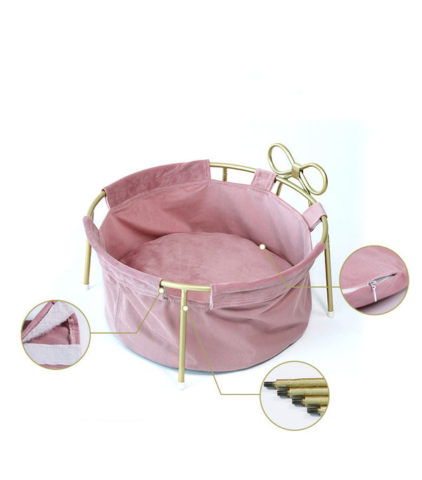 Princess Ribbon Basket Summer Cooling Deep Sleep Round Designer Indoor Pet Bed For Small Medium Cats - Pawsmeme.com