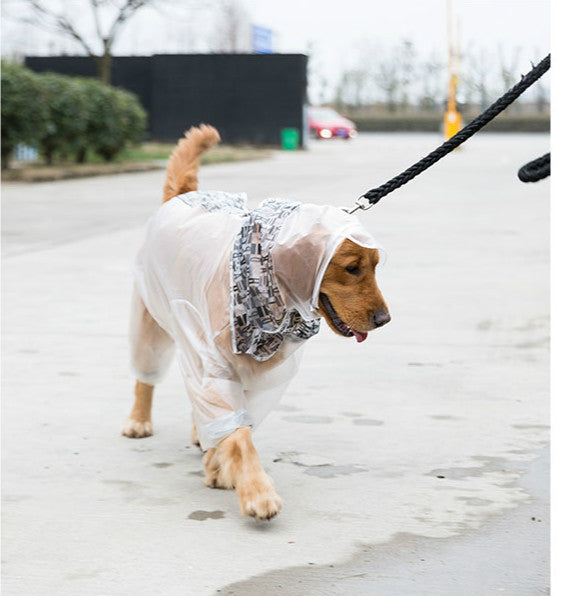 Clear Matte Velcro Outdoor Stylish Waterproof Raincoat with Leg Protection For Large Dogs - Pawsmeme