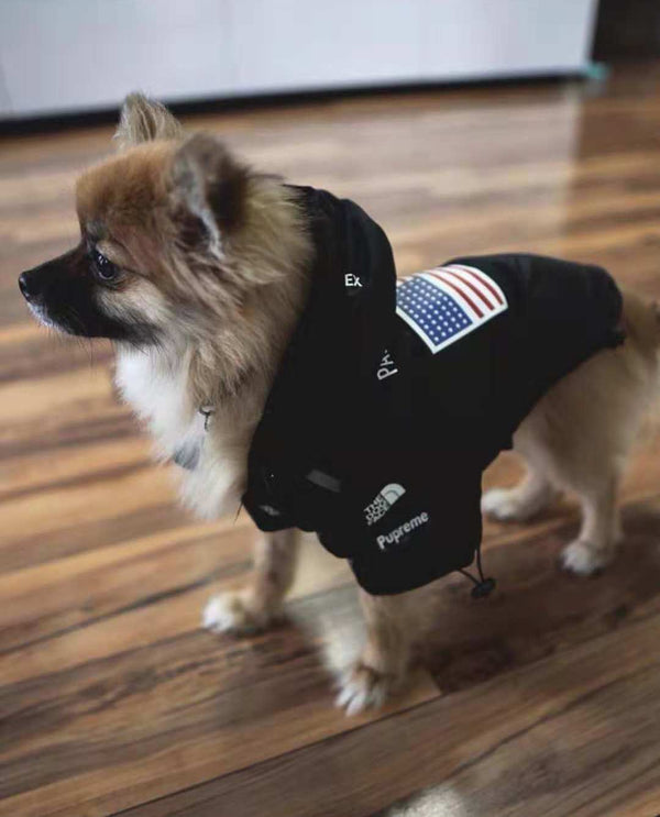 North Face Style USA Flag Outdoor Waterproof Raincoat Reflective Stripe For Small Medium Dogs - Pawsmeme