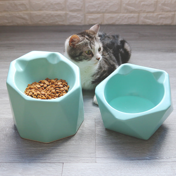 Green Geometric Ceramic Raised Elevated Easy Clean Designer Pet Feeding Bowl For Small Medium Cats - Pawsmeme.com